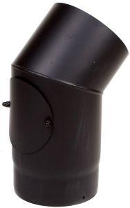 Dikwandige bocht Ø130mm – 45° met luik (zwart)