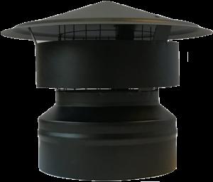 Dubbelwandige trekkap Ø150/200mm met vonkenvanger (zwart)