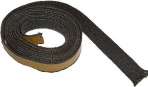Glasvezelkoord plat (zwart) – 20mm breed (per meter)