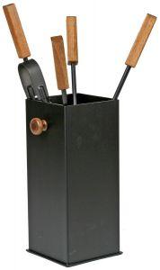 Haardstel vierkante bak met houten handvat
