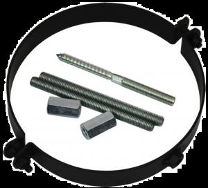 Dikwandige muurbeugel Ø150mm (zwart)
